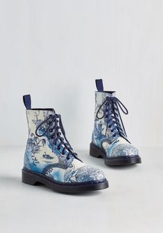 March Through Manhattan Boot in Antique Delft. Stylish originality pulses through the city, but your panache rises above the rest when you strut the sidewalks in these printed Dr. #blue #modcloth