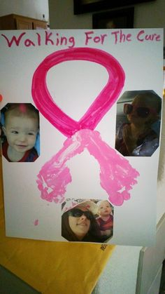 Breast Cancer Awareness craft to give to a loved one or just for Breast Cancer awareness! Just use childs footprints and draw the rest to make it look like a ribbon