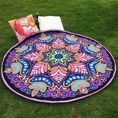 Floral Hippie Mandala Round Beach Towel