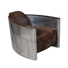 Aviator Tomcat Chair in Destroyed Raw Leather & Spitfire - Timothy Oulton