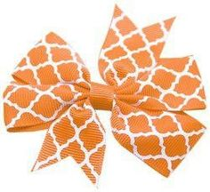 Mirage Pet Products Hair Bow Quatrefoil French, Barrette Orange