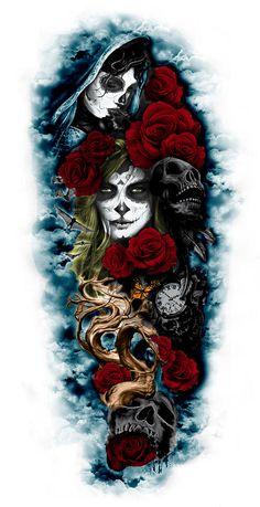 ideas tattoo for guys arm ideas life Bad Tattoos, Rose Tattoos, Body Art Tattoos, Tattoos For Guys, Tatoos, Skull Sleeve, Arm Sleeve Tattoos, Tattoo Sleeve Designs, Tattoo Designs Men