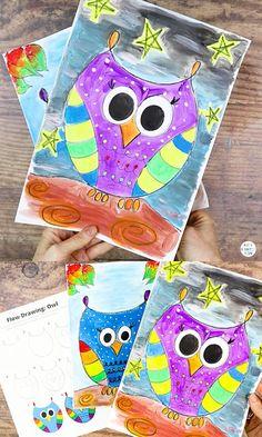 Easy Art For Kids, Halloween Crafts For Toddlers, Christmas Crafts For Kids To Make, Toddler Crafts, Animal Art Projects, Animal Crafts For Kids, Art Drawings For Kids, Drawing For Kids, Kindergarten Art