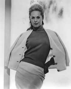 Tippi Hedren in a publicity shot for The Birds (1963) Costume design by Edith Head Image Source: Flickr