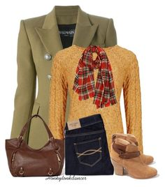 """""""Plaid Scarf"""" by honkytonkdancer ❤ liked on Polyvore featuring Balmain, M&S, rag & bone, Abercrombie & Fitch, yellow, booties, plaid and jeans"""