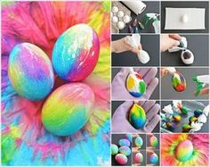 Image via: one little project To make these cheerful tie dye Easter eggs first you have to hard boil eggs. Then tie each egg in a paper towel. After that put drops of different food colors on each paper towel wrapped egg. Spray the egg with water so that the color covers the whole egg. Do this to all the eggs and set