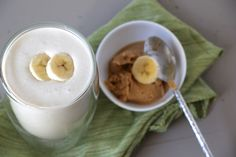 Banana Nut Butter Coconut Smoothie. No sugar added, full of flavor and delicious and healthy fats to keep you full for hours!! No more mid-day hunger! --From Just Enjoy Food