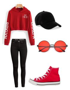 """""""Casual summer outfit"""" by moon-you on Polyvore featuring rag & bone, Converse, casual, black, red and simpleoutfit"""