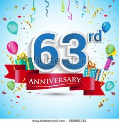 63rd Years Anniversary Celebration Design, with gift box and balloons, Red ribbon, Colorful Vector template elements for your sixty three birthday celebrating party.