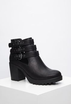 Buckled Faux Leather Booties | Forever 21 - 2000184402