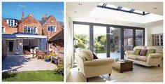Second living room/Reception - Bespoke extension incorporating roof lights and folding doors Living Room Kitchen, Home Living Room, Living Area, Large Lanterns, Relaxation Room, Roof Light, Folding Doors, Glass Roof, Bespoke Design