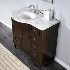 Silkroad Exclusive 38-inch Carrara White Marble Stone Top Bathroom Off-Center Single Sink Vanity (Left)