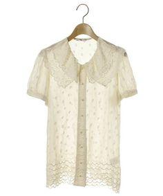 TSUMORI CHISATO(ツモリチサト)「刺繍シルク半袖シャツ(シャツ/ブラウス)」|ベージュ