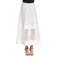 Nicholas Geometric-Lace Ball Skirt ($630) ❤ liked on Polyvore featuring skirts, white, ball skirt, long pleated skirt, long lace skirt, floor length white skirt and lace skirt