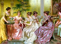 An Afternoon Tea by Vittorio Reggianini Classic Paintings, Old Paintings, Victorian Paintings, Victorian Art, Grafiti, Renaissance Art, Old Art, Renoir, Ancient Art
