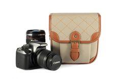 White Leather DSLR Camera Bags--Padded Camera Insert One Body One Lens 118