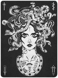Medusa-w/ tattoos. Medusa Art, Medusa Gorgon, Medusa Tattoo, Lion Tattoo, Tatoo Art, Dark Art, Body Art, Art Drawings, Tattoo Designs