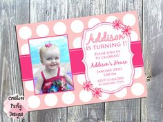 Girly First Birthday Invitation - Flowers - Polka Dots - $15.00 - Click to save 30% today with Coupon Code PIN30!