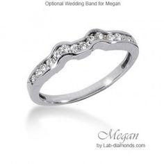 Megan Wedding Ring with Lab Diamonds - Matching wedding ring for the Megan engagement ring. $758.00 - http://www.lab-diamonds.com/engagement-rings/wedding-bands/megan-wedding-ring.html