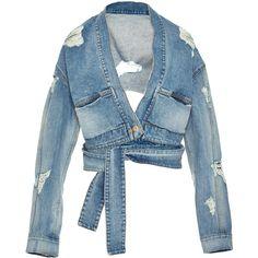 Jonathan Simkhai     Karate Distressed Denim Jacket found on Polyvore featuring outerwear, jackets, tops, blue, jonathan simkhai, cropped jacket, distressed denim jacket, blue jackets and blue cropped jacket