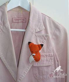 Sleepy felt fox  Strawberry fox pin brooch by NikisBirdhouse, $7.90