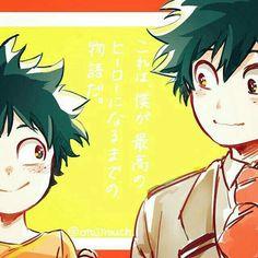 "Midoriya ""Deku"" Izuku, text, smiling, young, childhood, different ages, time lapse; My Hero Academia"