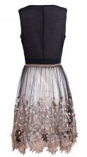 Black Sleeveless Bead Embroidery Applique Dress - Sheinside.com