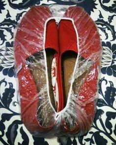 Use a shower cap to cover the bottoms of your shoes to keep dirt and sand off your clothes while packing.