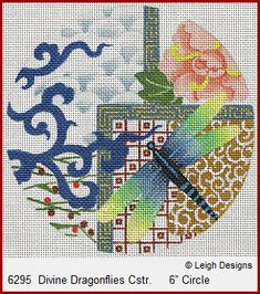 "Leigh Designs Needlepoint, new 6""x 6"" Imari Series. These are adapted from the 10""x 10"" series"