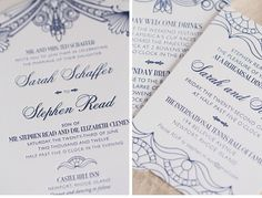 navy letterpress wedding invitation - Google Search