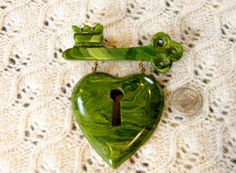 1940s World War II Green Bakelite MacArthur Heart Lock & Key Dangle Pin- Book Piece- Extremely Rare!