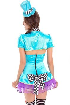 c450920a113a Women Jade Blue Circus Clown Dress Sexy Cosplay Costume - One Size