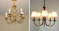 Before and After Chandelier makeover-- I have almost this exact brass chandelier, and I'm going to do this exactly!