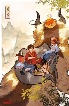 velinxi: Gaang Summer[prints here] Avatar Aang, Avatar Airbender, Suki Avatar, Avatar Legend Of Aang, Team Avatar, Legend Of Korra, Character Art, Character Design, The Last Avatar