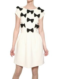 MSGM - TECHNO STRETCH ALPACA DRESS WITH BOWS - LUISAVIAROMA - LUXURY SHOPPING WORLDWIDE SHIPPING - FLORENCE