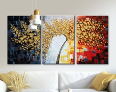 Hand Painted Oil Painting Canvas Palette Knife 3D Flower Wall Art Pictures for living room home decor cuadros decoracion