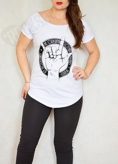 Rock On T-shirt for women with rock hand by Rockshirt