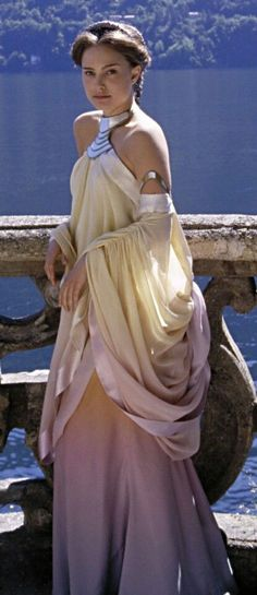 This dress is modeled after Padme Amidala's Pastel Lake Gown in Episode II - Attack of the Clones. Description from costumesandcouturebykris.blogspot.com. I searched for this on bing.com/images