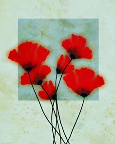 Red Poppies by Ann Powell - abstract flower art Painting #art #paintings #prints #poppies
