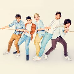 Liam: Help me!  Zayn: Vas happenin?!  Niall: Do you have food?  Louis: Hi, Kevin!  Harry: PULL!