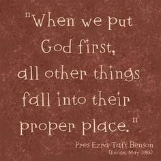 when we put God first...
