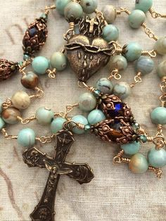 Cross Jewelry, Beaded Jewelry, Beaded Bracelets, Rosary Necklace, Rosary Beads, Gold Rosary, Catholic Jewelry, Agate Beads, Sacred Heart
