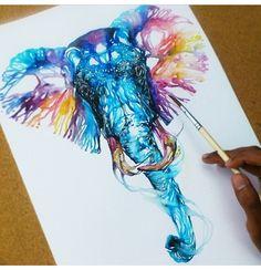 Aquarella, beautiful elephant!!