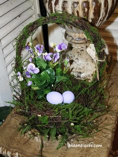 Our natural baskets dress up an Easter surprise.