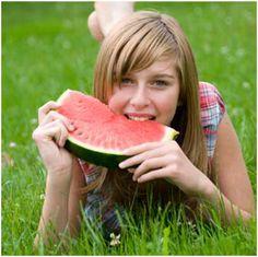 happy healthy teenager food, watermelon