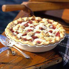 Rhubarb Custard Pie: Make this double crust pie in the spring when juicy rhubarb is at its peak.