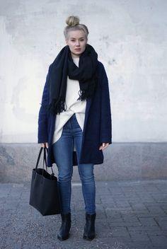 Blue jeans & navy coat