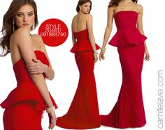 Camille La Vie Mesh Peplum Prom Dress with Tiered Skirt in Red. The perfect red carpet celebrity style look!