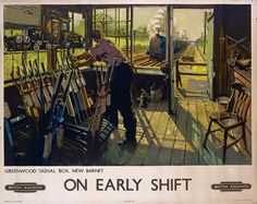 On Early Shift, Greenwood Signal box, New Barnet, London. BR Vintage Travel Poster by Terence Cuneo Train Posters, Railway Posters, Fine Art Prints, Framed Prints, Canvas Prints, Retro Poster, Poster Poster, Print Poster, National Railway Museum