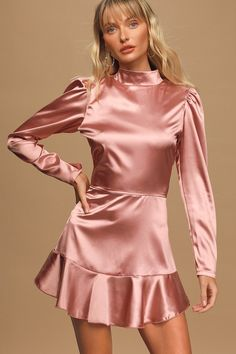 Let the SIN Making Dreams Mauve Satin Long Sleeve Ruffled Mini Dress light up the room and be the center stage! Dress with a mock neck and cutout back. Dresses For Teens, Cute Dresses, Dresses Online, Short Dresses, Women's Dresses, Bridesmade Dresses, Satin Gown, Satin Dresses, Long Satin Dress